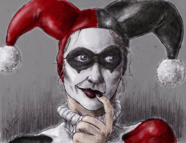 pensive_harley_quinn_by_nickagneta-d630pfz